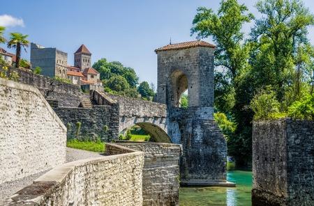 Pont de la Legende, or Bridge of Legend  on the Gave dOloronin in Sauveterre-de-Bearn, France. Stock Photo