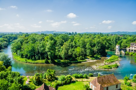 meander: An aerial view of a meander in the Gave dOloron river at Sauveterre-de-Bearn, South West France. Stock Photo