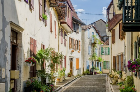 A street view in the town of Salies-de-Bearn, Pyrenees-Atlantiques, South Western France. Stock Photo