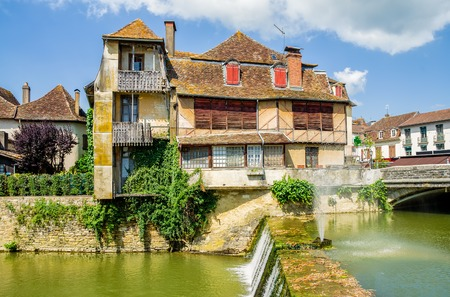 An old traditional building in Salies de Bearn, Pyrenees-Atlantiques, South West France