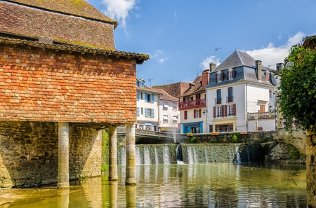 A house on stilts in the French town of Salies de Bearn, South West France.