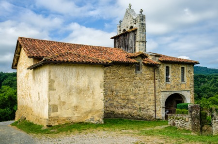 the french way: The 11th century chapel of St Nicholas in the tiny French hamlet of Harambels, an important point on the route of the Way of St James pilgrimage.