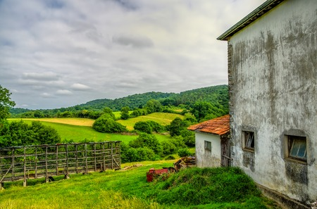 A rural view of farmland in South Western France.