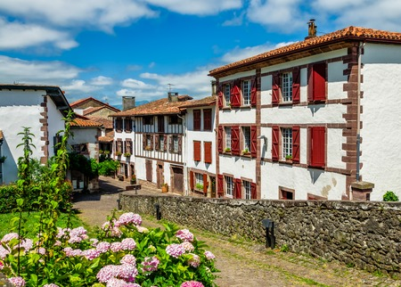 Traditional Basque houses in  the South Western French town of Saint-Jean-Pied-de-Port.