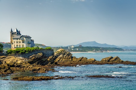 Villa Belsa and the coastline stretching to the Spanish border, Biarritz, South West Spain.