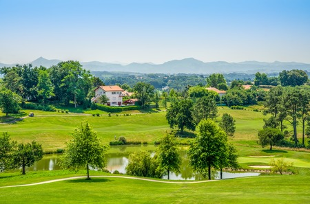 A golf course near Biarritz in South West France with the Pyrenees in the background.