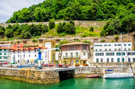 san sebastian: The old town and fishing harbour of San Sebastian, Spain.
