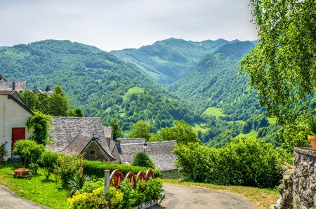 The village of Aydius in the French Pyrenees with a forested mountain backdrop.