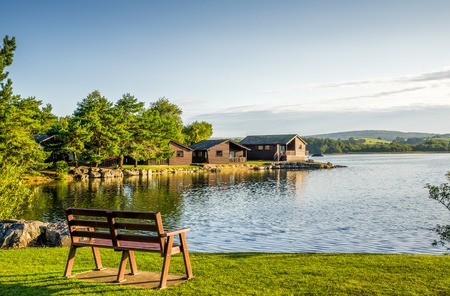 lake beach: A holiday park with wooden lodges and a seat beside a peaceful lake.
