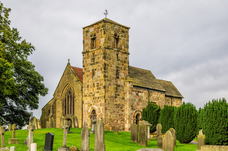 anglo saxon: A view of Kirk Hammerton church, I North Yorkshire, England, showing the original Anglo Saxon Tower.