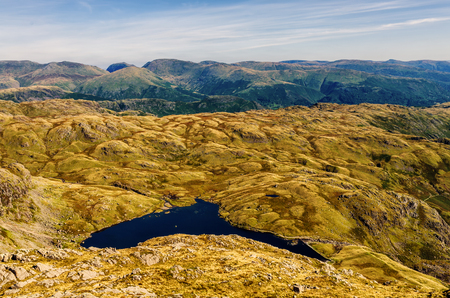 langdale: View of the glaciated mountain landscape in Langdale from the top of Harrison Stickle