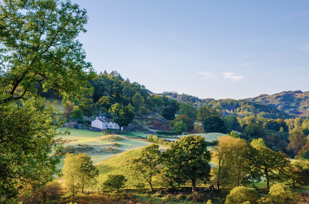 langdale: Scenic morning view of Little Langdale valley in the Lake District, Cumbria, England. Stock Photo