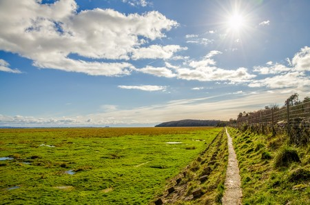 recently: Green fields along coastline near Grange-over-sands in Cumbria, England on sunny day.