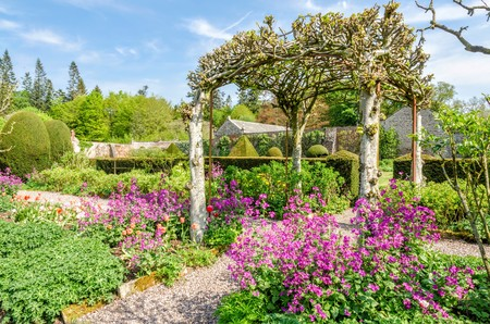 cumbria: Gardens on grounds of Hutton in the Forest, Cumbria, England.