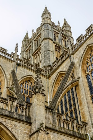 architectural exteriors: Details of architecture in Bath Abbey, Bath, England on sunny day. Stock Photo