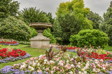 Fountain on grounds of gardens in Royal Victoria Park in Bath, England. Stock Photo