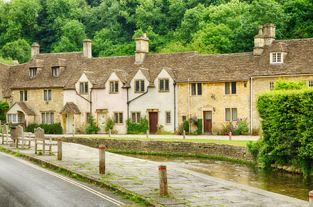 Streets and stone houses in Castle Combe Village in Wiltshire, England.