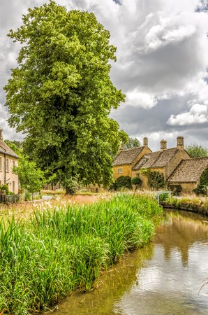 Scenic view of Lower Slaughter village in the Cotswolds, England. Stock Photo