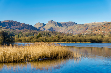 A view of the Langdale Pikes from Elterwater