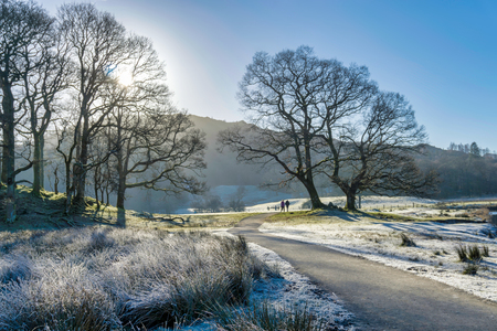 Hikers on frosty morning in Langdale