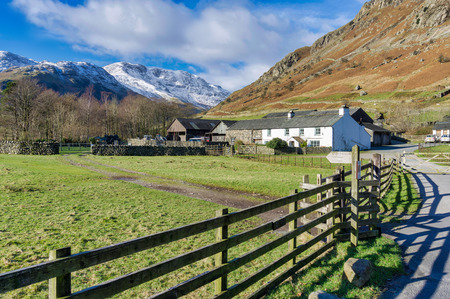 An isolated farmhouse at the head of Langdale Stock Photo