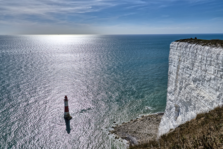 A view of Beachy Head lighthouse, a famous landmark on the South coast of England.