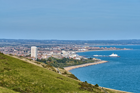 An aerial view of the town of Eastbourne on the English South coast.