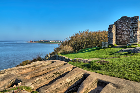 11th century stone graves in the ruins of the ancient St. Patricks Chapel, Heysham, Lancashire, Northern England.