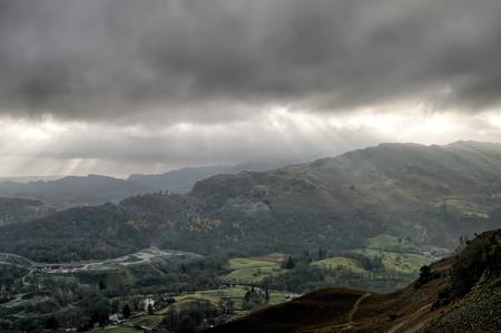 Crepuscular rays and the Great Langdale valley.