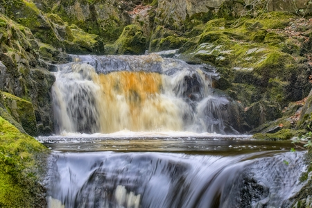 A close view of Pecca Falls, a waterfall near Ingleton in the Yorkshire Dales.