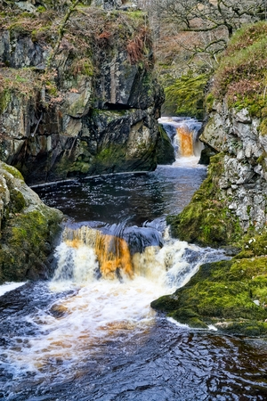 A close view of Snow Falls, a waterfall near Ingleton in the Yorkshire Dales.