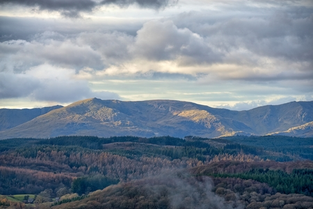 A panoramic view of the Coniston fells in the English Lake District.
