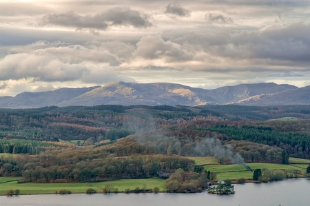 A panoramic view of the Windermere and the Coniston fells in the English Lake District.