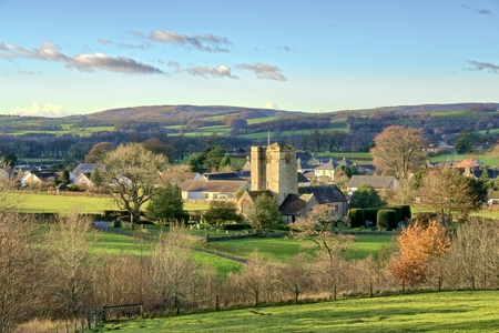 A view of St Bartholomews Church and the village of Barbon