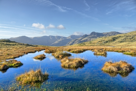 A small tarn on Silver Howe, a hill in the English Lake District.