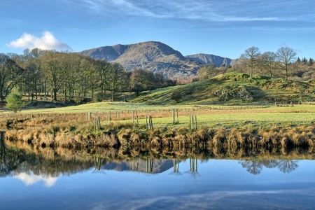 A view of Wetherlam reflected in Elterwater. 免版税图像