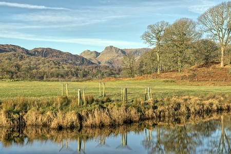 A view of The langdale Pikes with Elterwater.