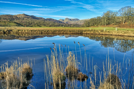 A reflection of The Langdale Pikes in Elterwater.