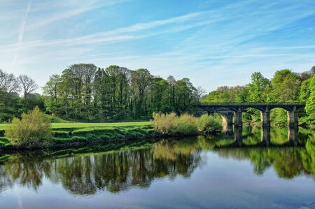 A wide view of the river Lune and bridge, near Lancaster