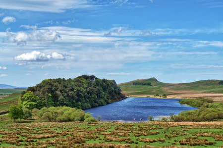 A view of Crag Lough on Hadrians wall 免版税图像