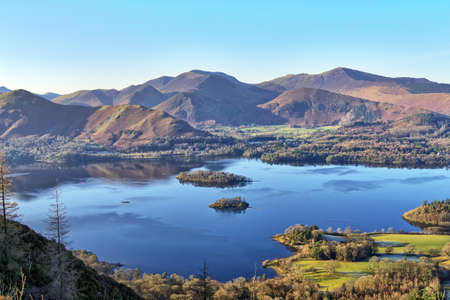 A view of Derwentwater and the Coledale Horeshoe from Walla Crag