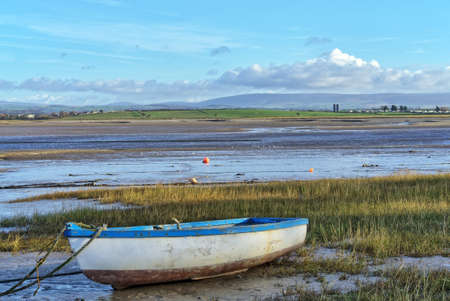 A rowing boat on the shore at Sunderland Point