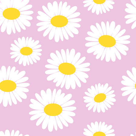 Daisy seamless pattern vector illustration. Pretty floral pattern for print.