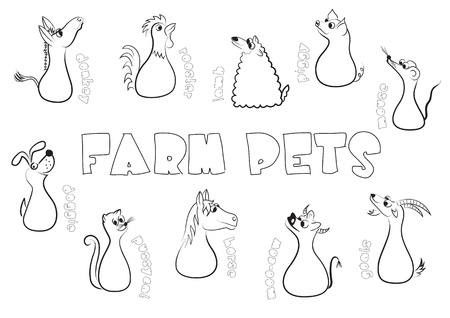 donkeys: Farm pets Illustration