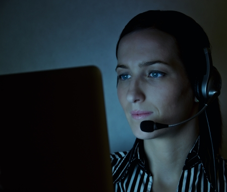 telephony:  nice young woman operator in different situation Stock Photo