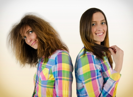 Young beautiful girls in a shirt with diferent hair photo