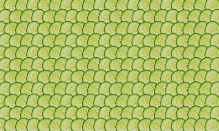 layer masks: thin cucumbers slices folded into rows as background