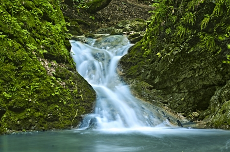 peacefull: Cascading waterfall in deep forest
