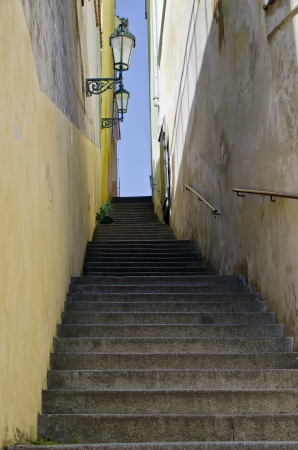 Narrow stairs between the houses at Prague Castle photo