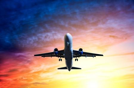 landing light: bottom plane in the sunset